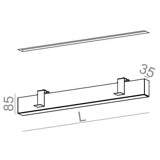 AQForm Rafter 57 cm Oprawa do zabudowy LED