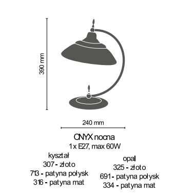 Amplex Onyx 325 Lampka stojąca złoty
