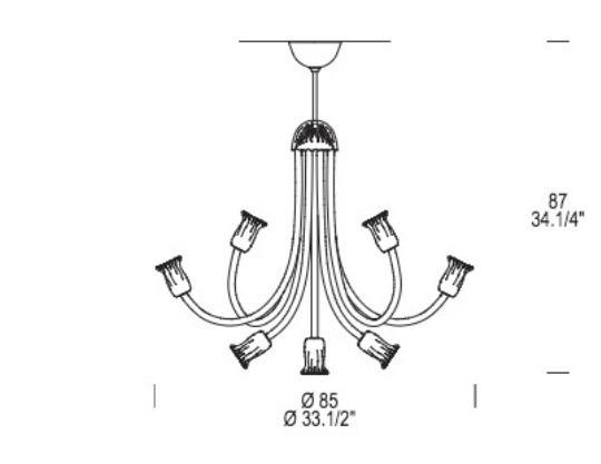 Art. 599 L 9 Włoska Oprawa Wisząca kryształowa Leucos