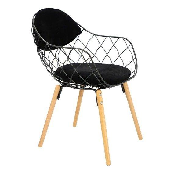 Czarne krzesło Jahi metalowe elementy