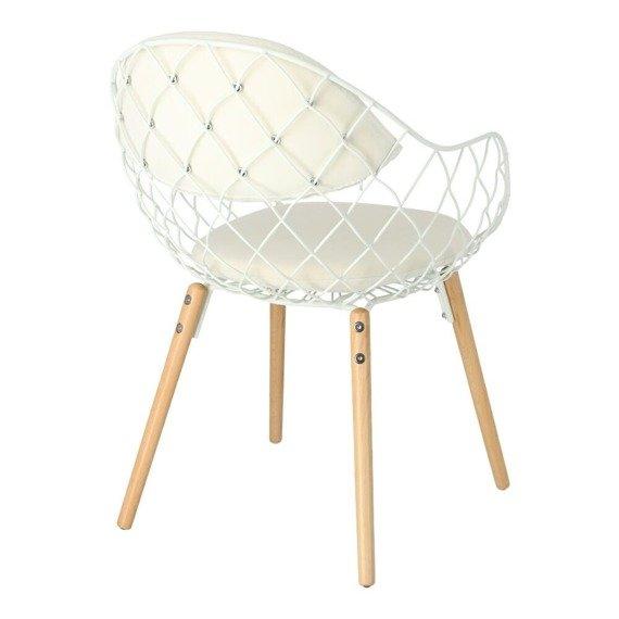 Designerskie białe krzesło z drewnianymi nogami Jahi