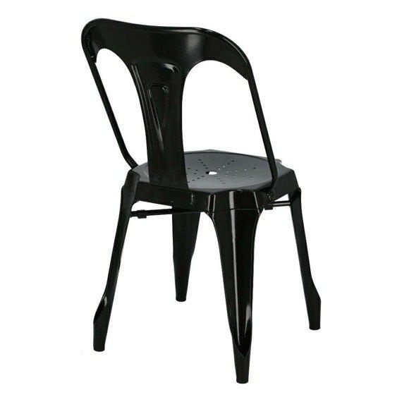 Industrialne Krzesło Rome Metalowe w kolorze czarnym