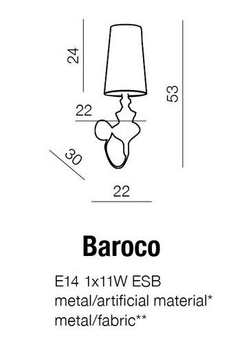 Kinkiet AZZARDO Baroco AB 7121-1S Black