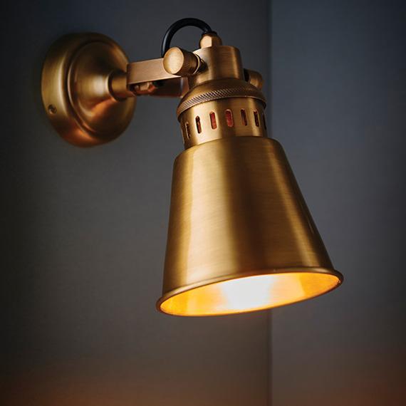 Lampa Ścienna Endon Elms Mosiądz