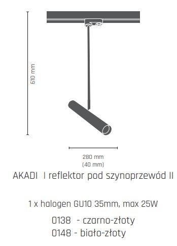 Lampa do szynoprzewodu Amplex Akadi II 0148 biało-złoty