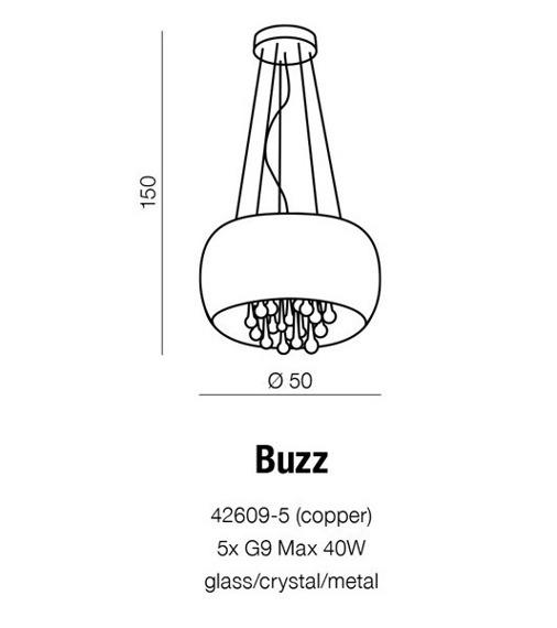 Oprawa Wisząca Buzz 42609-5 miedziana Azzardo