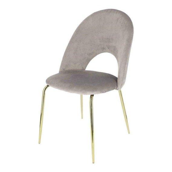 Welurowe szare krzesło Kotte Velvet styl art deco