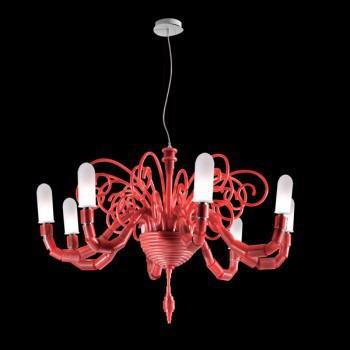 Żyrandol Facon de Venice MERIPIRS 8L red + nakładki